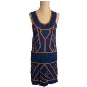 Theme Navy Blue and Brown Sleeveless Dress